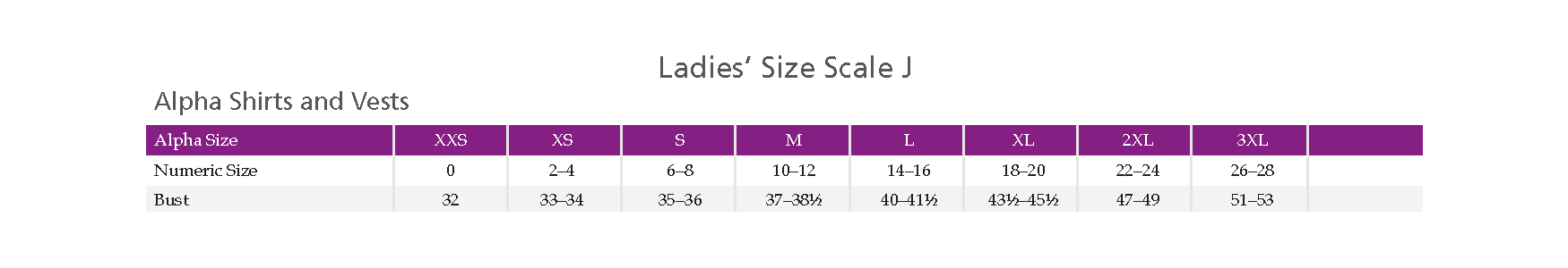 Size Scale J